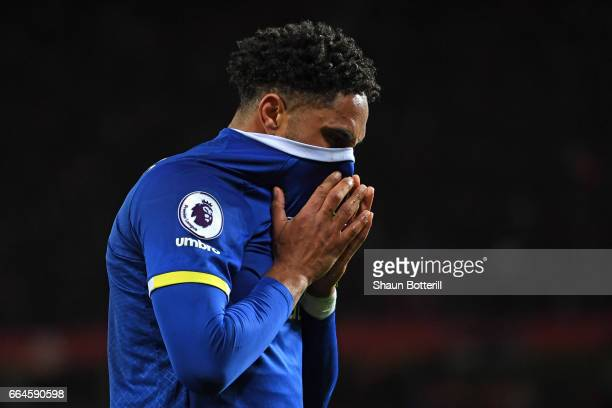 Ashley Williams of Everton is dejected during the Premier League match between Manchester United and Everton at Old Trafford on April 4 2017 in...