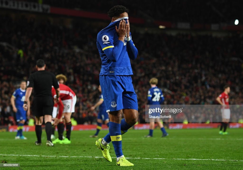 Ashley Williams of Everton reacts to being sent off during the Premier League match between Manchester United and Everton at Old Trafford on April 4, 2017 in Manchester, England.