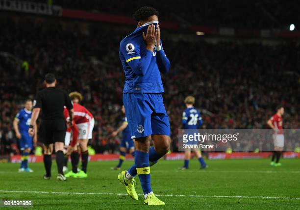 Ashley Williams of Everton reacts to being sent off during the Premier League match between Manchester United and Everton at Old Trafford on April 4...