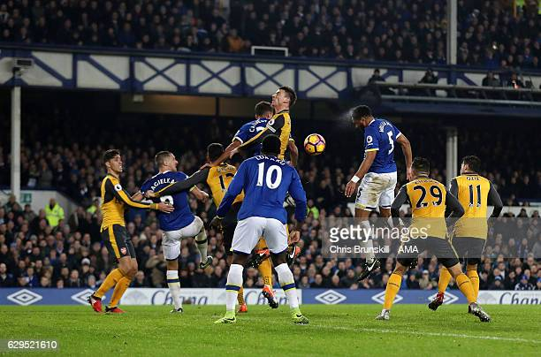 Ashley Williams of Everton scores a goal to make it 21 during the Premier League match between Everton and Arsenal at Goodison Park on December 13...