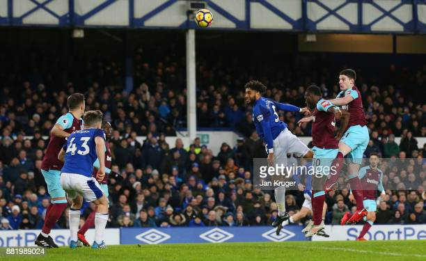 Ashley Williams of Everton scores his sides fourth goal during the Premier League match between Everton and West Ham United at Goodison Park on...