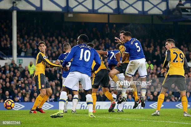Ashley Williams of Everton scores his teams second goal during the Premier League match between Everton and Arsenal at Goodison Park on December 13...