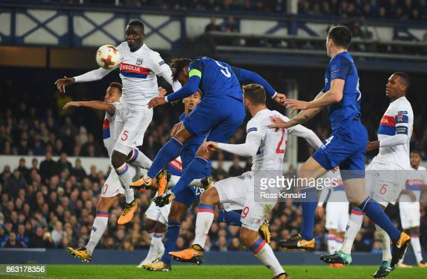 Ashley Williams of Everton scores their first goal during the UEFA Europa League Group E match between Everton FC and Olympique Lyon at Goodison Park...
