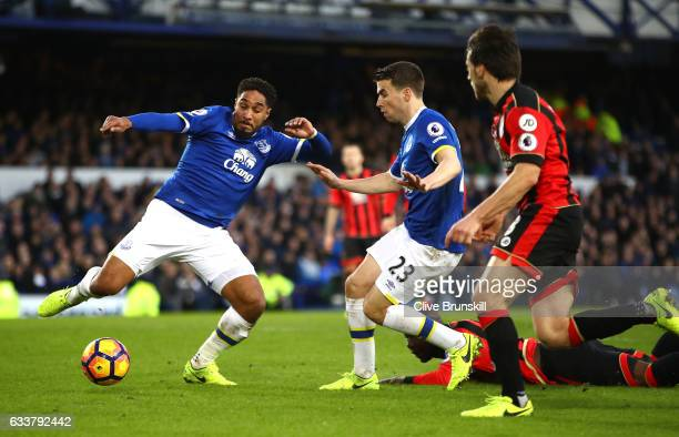 Ashley Williams of Everton shoots during the Premier League match between Everton and AFC Bournemouth at Goodison Park on February 4 2017 in...