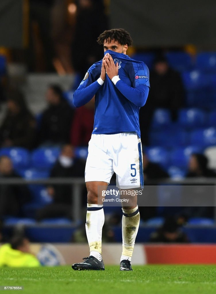 Ashley Williams of Everton shows dejection after the final whistle during the UEFA Europa League group E match between Everton FC and Atalanta at Goodison Park on November 23, 2017 in Liverpool, United Kingdom.