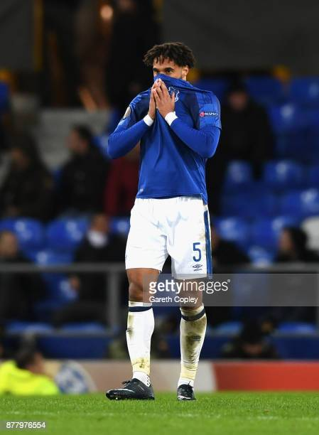 Ashley Williams of Everton shows dejection after the final whistle during the UEFA Europa League group E match between Everton FC and Atalanta at...