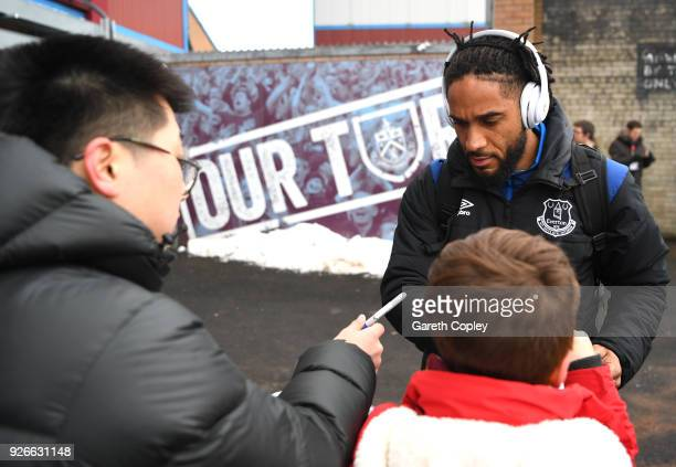 Ashley Williams of Everton signs autographs prior to the Premier League match between Burnley and Everton at Turf Moor on March 3 2018 in Burnley...