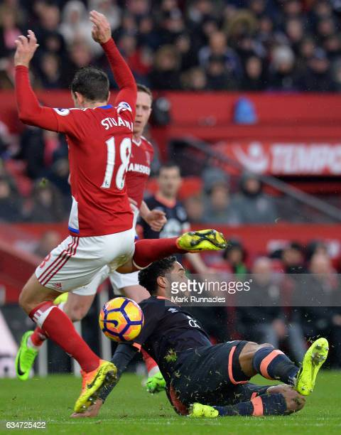 Ashley Williams of Everton tackles Christian Stuani of Middlesbrough during the Premier League match between Middlesbrough and Everton at Riverside...