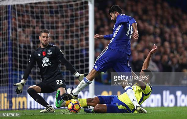 Ashley Williams of Everton tackles Diego Costa of Chelsea during the Premier League match between Chelsea and Everton at Stamford Bridge on November...
