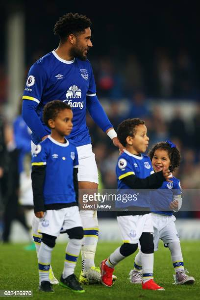 Ashley Williams of Everton takes part in a lap of honor after the Premier League match between Everton and Watford at Goodison Park on May 12 2017 in...