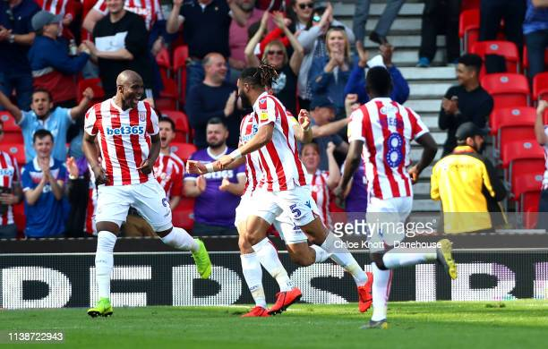 Ashley Williams of Stoke City celebrates scoring his teams first goal during the Sky Bet Championship match between Stoke City and Norwich City at...