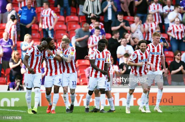 Ashley Williams of Stoke City celebrates with his team mates after scoring during the Sky Bet Championship match between Stoke City and Norwich City...