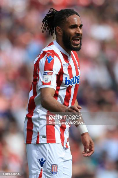 Ashley Williams of Stoke gestures during the Sky Bet Championship match between Stoke City and Norwich City at the Bet365 Stadium on April 22 2019 in...