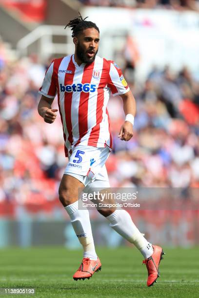 Ashley Williams of Stoke in actionduring the Sky Bet Championship match between Stoke City and Norwich City at the Bet365 Stadium on April 22 2019 in...