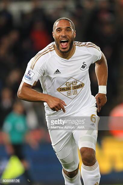 Ashley Williams of Swansea City celebrates after scoring a goal to make it 10 during the Barclays Premier League match between Swansea City and...