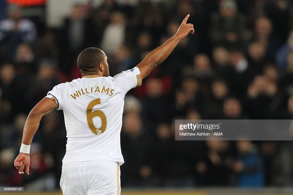 Ashley Williams of Swansea City celebrates after scoring a goal to make it 1-0 during the Barclays Premier League match between Swansea City and Watford at the Liberty Stadium on January 18, 2016 in Swansea, Wales.