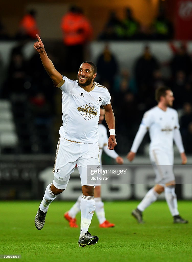 Ashley Williams of Swansea City celebrates after scoring the opening goal during the Barclays Premier League match between Swansea City and Watford at Liberty Stadium on January 18, 2016 in Swansea, Wales.