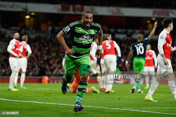 Ashley Williams of Swansea City celebrates scoring his sides second goal during the Barclays Premier League match between Arsenal and Swansea City at...