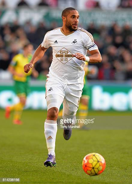 Ashley Williams of Swansea City during the Barclays Premier League match between Swansea City and Norwich City at Liberty Stadium on March 5 2016 in...