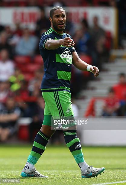 Ashley Williams of Swansea City during the pre season friendly match between Nottingham Forest and Swansea City at City Ground on July 25 2015 in...
