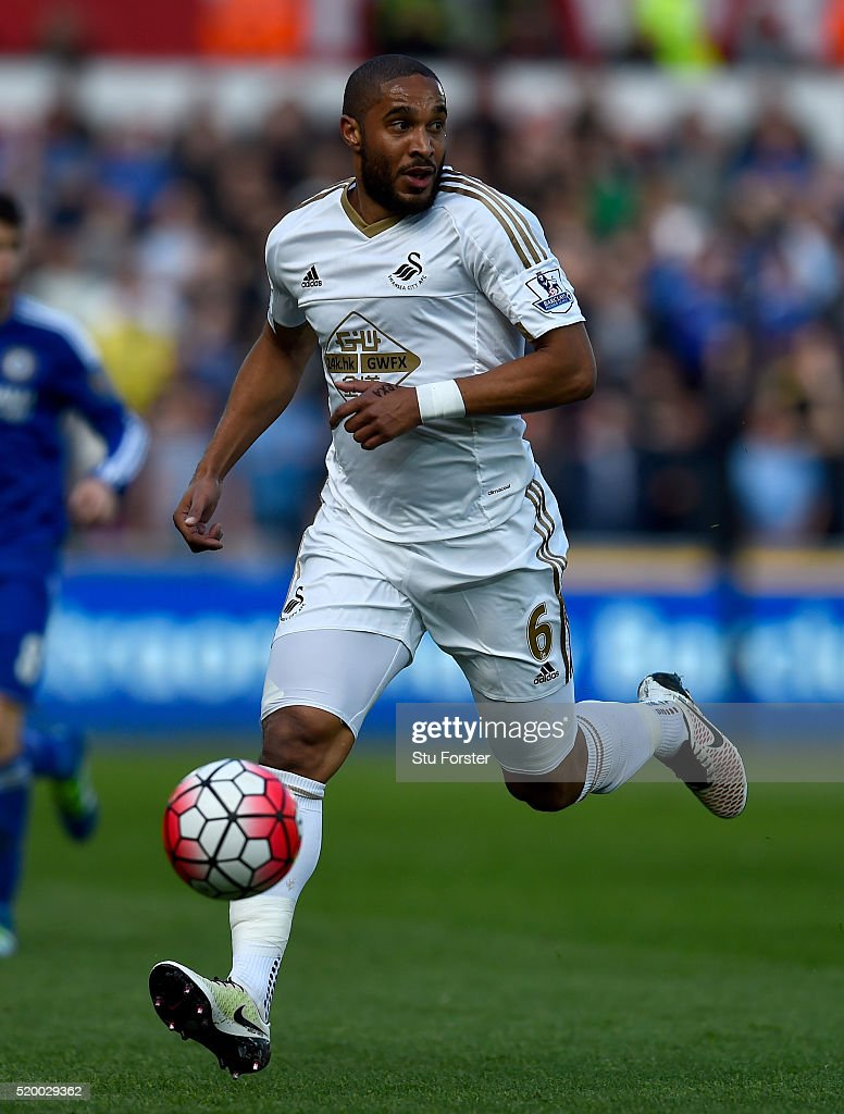 Ashley Williams of Swansea in action during the Barclays Premier League match between Swansea City and Chelsea at Liberty Stadium on April 9, 2016 in Swansea, Wales.