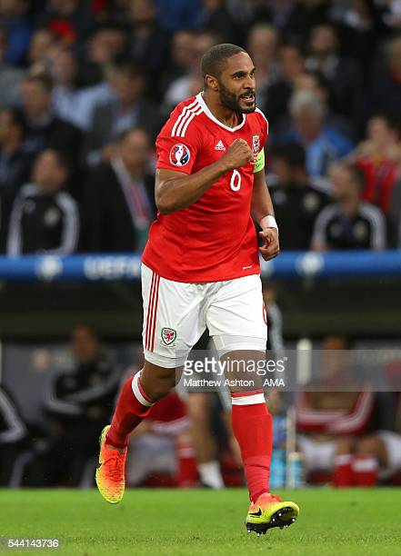 Ashley Williams of Wales celebrates after scoring a goal to make it 11 during the UEFA Euro 2016 quarter final match between Wales and Belgium at...