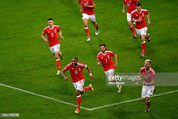 Ashley Williams of Wales celebrates scoring his team's first goal during the UEFA EURO 2016 quarter final match between Wales and Belgium at Stade...