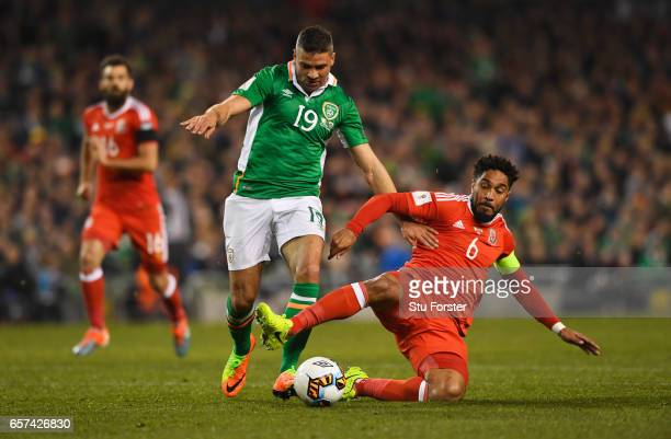 Ashley Williams of Wales challenges Jonathan Walters of the Republic of Ireland during the FIFA 2018 World Cup Qualifier between Republic of Ireland...