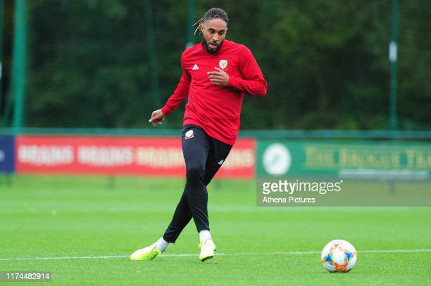 Ashley Williams of Wales during the Wales Training Session at The Vale Resort on October 7 2019 in Cardiff Wales