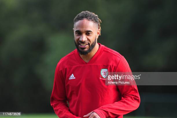 Ashley Williams of Wales during the Wales Training Session at The Vale Resort on October 9 2019 in Cardiff Wales