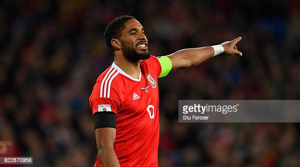 Ashley Williams of Wales in action during the FIFA 2018 World Cup Qualifier between Wales and Serbia at Cardiff City Stadium on November 12 2016 in...