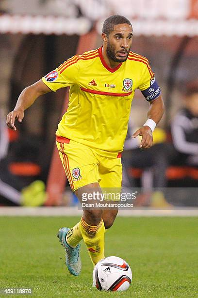 Ashley Williams of Wales in action during the Group B UEFA European Championship 2016 Qualifier match bewteen Belgium and Wales at King Baudouin...