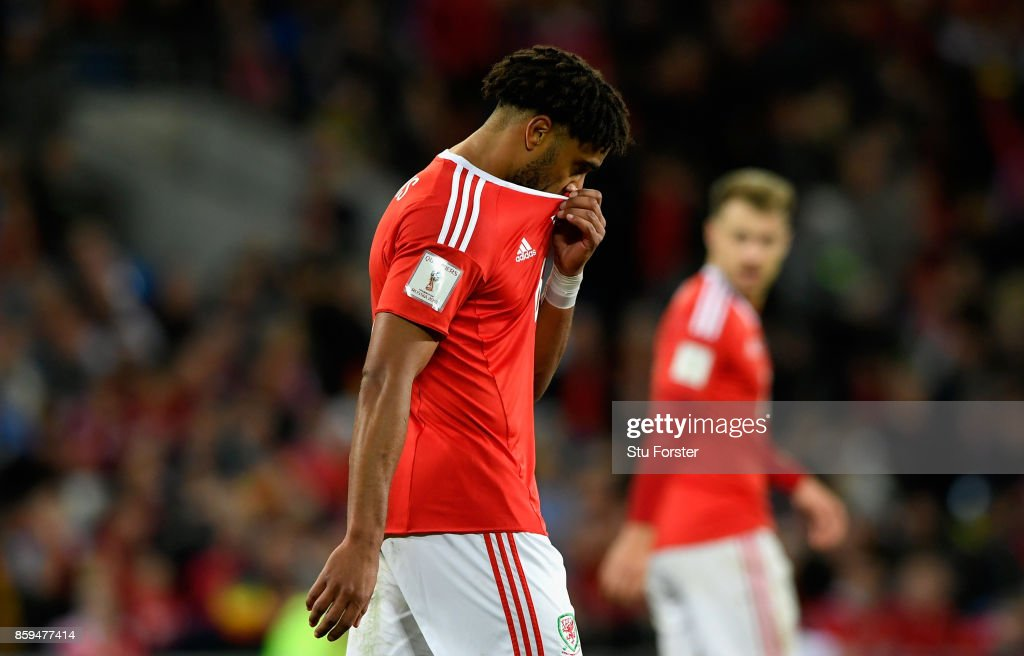Ashley Williams of Wales looks dejected during the FIFA 2018 World Cup Group D Qualifier between Wales and Republic of Ireland at the Cardiff City Stadium on October 9, 2017 in Cardiff, Wales.