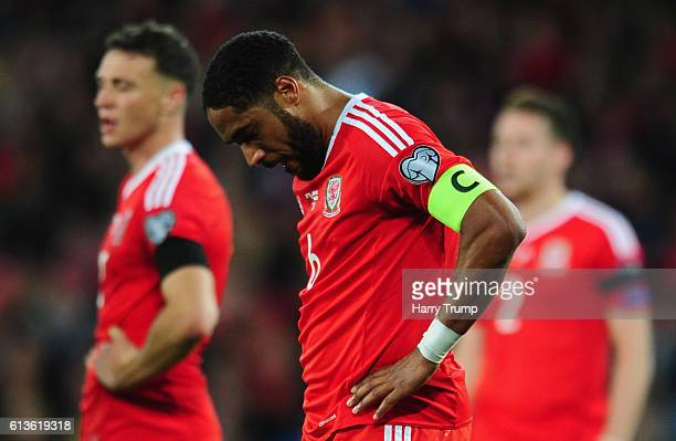 Ashley WIlliams of Wales shows disappointment during the 2018 FIFA World Cup Qualifier between Wales and Georgia at the Cardiff City Stadium on...