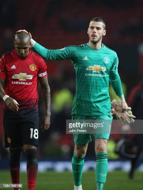 Ashley Young and David de Gea of Manchester United walk off after the Premier League match between Manchester United and Crystal Palace at Old...