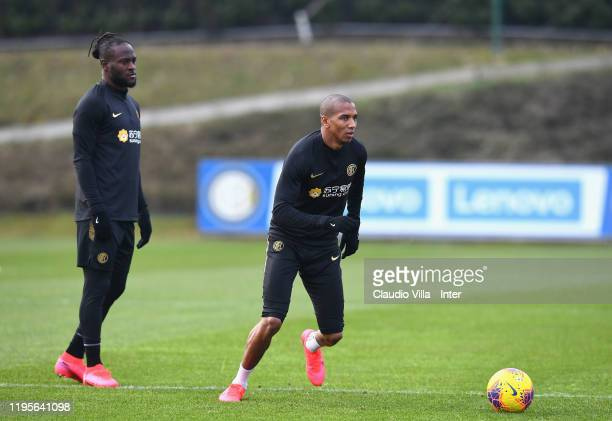 Ashley Young and Victor Moses of FC Internazionale in action during a FC Internazionale training session at Appiano Gentile on January 24 2020 in...