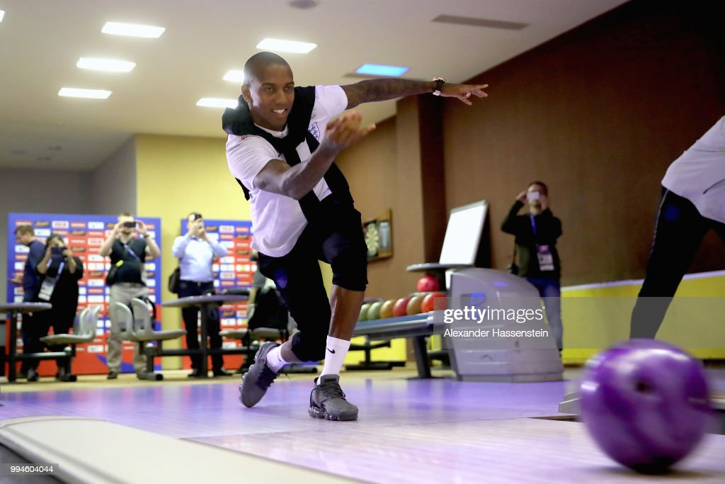 Ashley Young bowls ahead of England's press conference at Repino Cronwell Park Hotel on July 9, 2018 in Saint Petersburg, Russia.