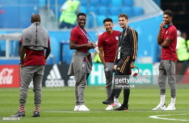 Ashley Young Jesse Lingard Adnan Januzaj and Marcus Rashford discuss during pitch inspection prior to the 2018 FIFA World Cup Russia 3rd Place...