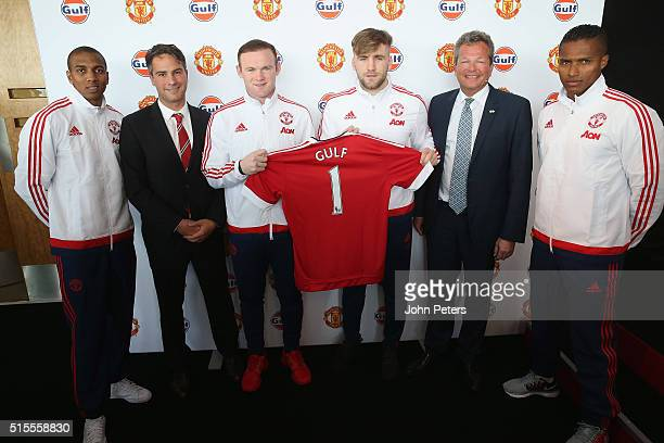Ashley Young Manchester United commercial director Jamie Reigle Wayne Rooney Luke Shaw Gulf Oil International vice president Frank Rutten and Antonio...