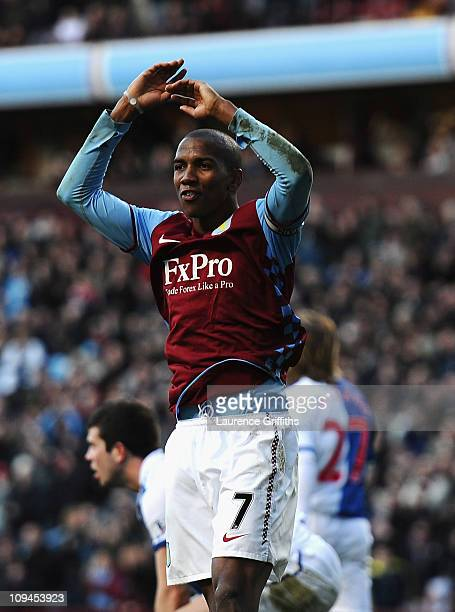 Ashley Young of Aston Villa celebrates his second goal during the Barclays Premier League match between Aston Villa and Blackburn Rovers at Villa...