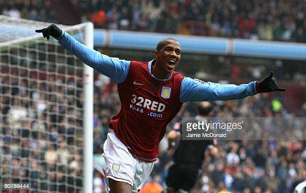 Ashley Young of Aston Villa celebrates his second goal during the Barclays Premier League match between Aston Villa and Birmingham City at Villa Park...