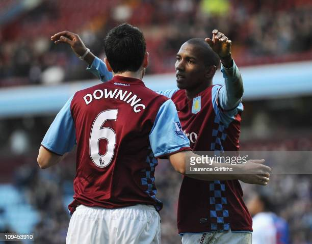 Ashley Young of Aston Villa celebrates his second goal with Stewart Downing during the Barclays Premier League match between Aston Villa and...