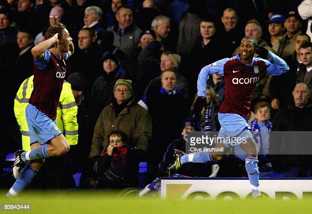 Ashley Young of Aston Villa celebrates scoring the winning goal in added time during the Barclays Premier League match between Everton and Aston...