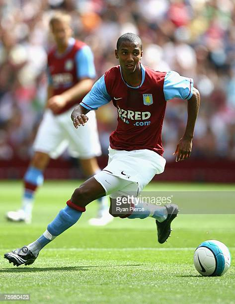 Ashley Young of Aston Villa in action during the Pre Season Friendly match between Aston Villa and Inter Milan at Villa Park on August 4, 2007 in...