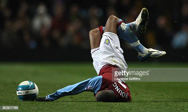 Ashley Young of Aston Villa is fouled by Robert Huth of Middlesbrough during the Barclays Premier League match between Aston Villa and Middlesbrough...