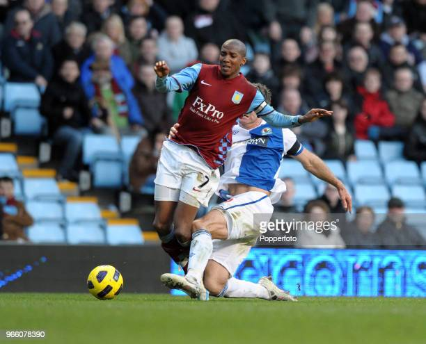 Ashley Young of Aston Villa is fouled by Ryan Nelsen of Blackburn Rovers during the Barclays Premier League match between Aston Villa and Blackburn...