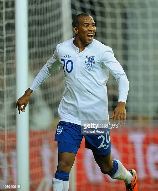 Ashley Young of England celebrates scoring to make it 21 during the international friendly match between Denmark and England at Parken Stadium on...