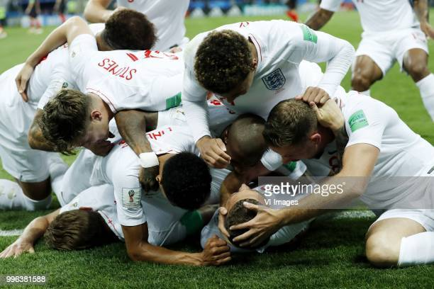 Ashley Young of England Kieran Trippier of England Jordan Henderson of England Jesse Lingard of England Harry Kane of England during the 2018 FIFA...