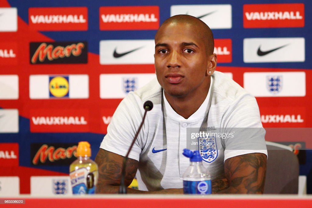 Ashley Young of England looks on during a press conference at St Georges Park on May 28, 2018 in Burton-upon-Trent, England.