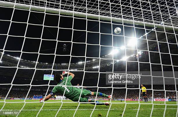 Ashley Young of England misses a penalty during the UEFA EURO 2012 quarter final match between England and Italy at The Olympic Stadium on June 24...